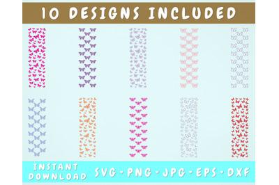 10 Butterfly Pen Wrap SVG Bundle, Butterflies Glitter Pen Wraps