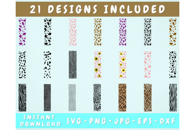 21 Animal Print Pen Wraps, Glitter Pen Wrap SVG Bundle