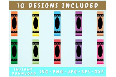 10 Crayon Pen Wraps, Glitter Pen Wrap SVG Bundle