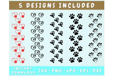 5 Dog Paw Pen Wraps, Glitter Pen Wrap SVG Bundle