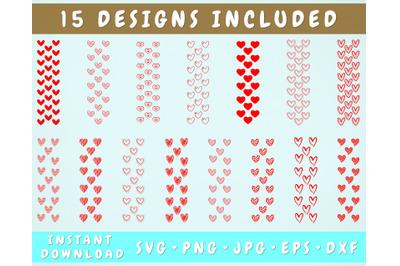 15 Hearts Pen Wraps, Glitter Pen Wrap SVG Bundle