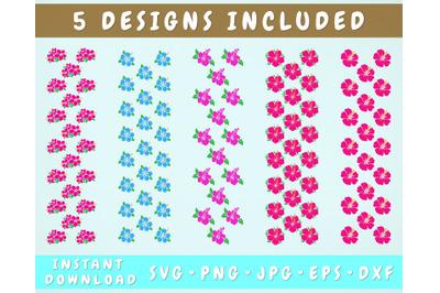 5 Hibiscus Pen Wraps, Hawaii Flower Glitter Pen Wrap SVG Bundle