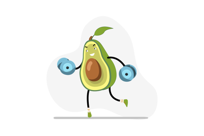 Healthy weightlifting avocado, vector exercise in gym