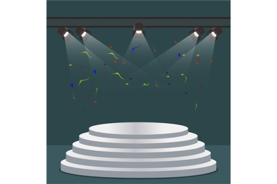 Podium staircase scene with light projectors. Vector scene projector