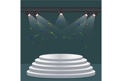 Podium staircase scene with light projectors. Vector scene projector