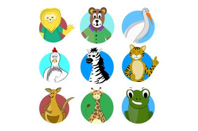 Cartoon avatar animal kangaroo lion and giraffe mascot