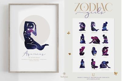 Watercolor Zodiac Girls