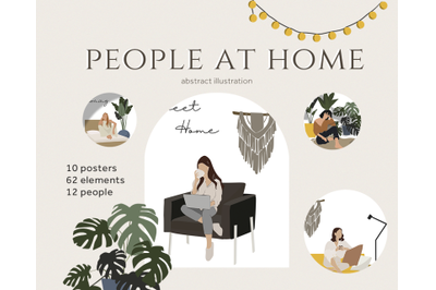 Abstract people, Women at home, Work from home, Home furniture, vector