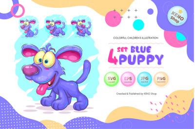 Set cartoon Blue puppy