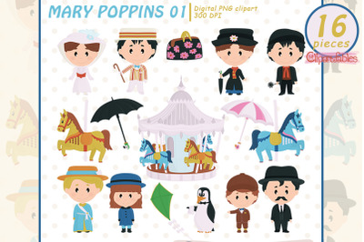 MARY POPPINS characters, Carnival, Carousel horse clipart