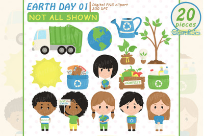 EARTH DAY clipart, Cute recycle clip art, Environmental Kids