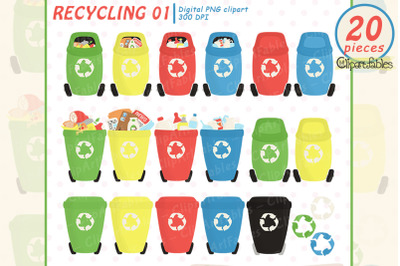 Cute colorful RECYCLING clipart for kids, Eco friendly