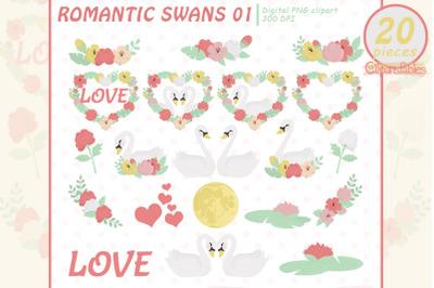 ROMANTIC SWANS clipart, Valentine's Day, Moonlight