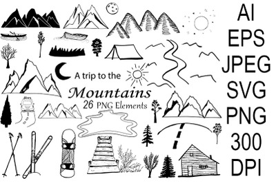 Mountains set. SVG. Camping. Snowboard. Skiing Sports.