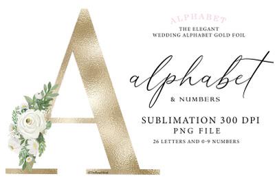 Alphabet gold, wedding alphabet, monogram gol, sublimation alphabet go