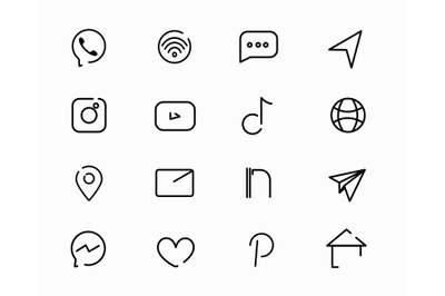 Social Media Icons, white and black set, vector minimalism, Simple Lin