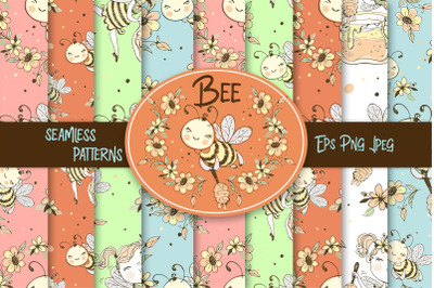 Bees digital paper. Bee fabric seamless patterns.