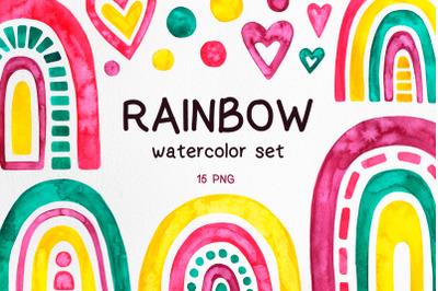Rainbow. Watercolor illustration.