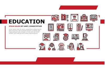 Online Education Book Landing Header Vector