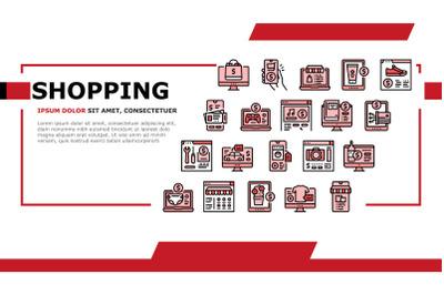 Shopping Online App Landing Header Vector