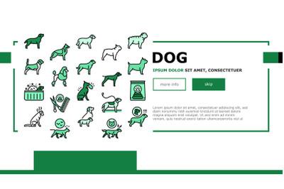 Dog Domestic Animal Landing Header Vector