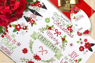 Whimsical Christmas Flowers & Wreaths Vector Clipart