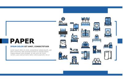 Paper Production Plant Landing Header Vector