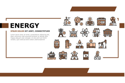 Energy Electricity And Fuel Power Landing Header Vector