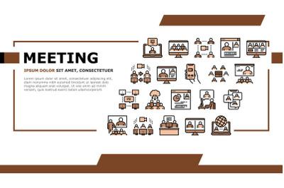 Online Video Meeting Landing Header Vector