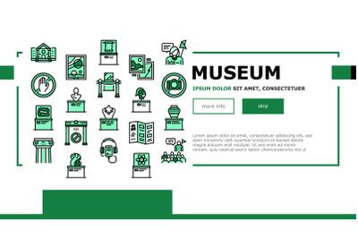 Museum Gallery Exhibit Landing Header Vector