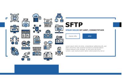 Ssh, Sftp File Transfer Protocol Landing Header Vector