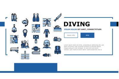 Diving Scuba Equipment Landing Header Vector