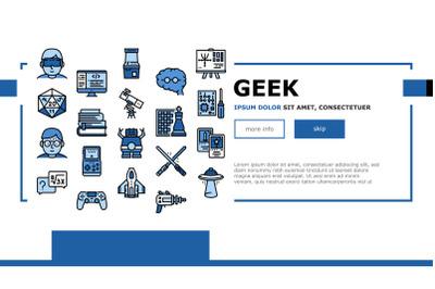 Geek, Nerd And Gamer Landing Header Vector