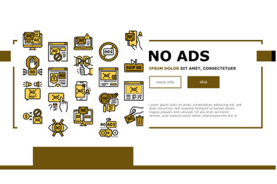 No Ads Advertise Free Landing Web Page Header Banner Template Vector