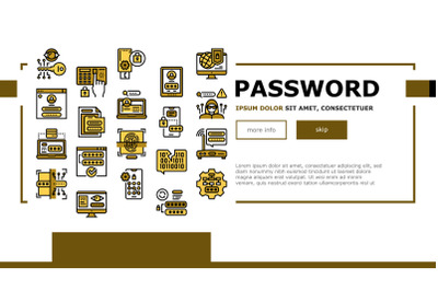Password Protection Landing Web Page Header Banner Template Vector Illustration