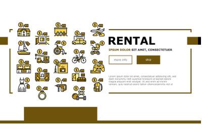 Rental Service Business Landing Web Page Header Banner Template Vector