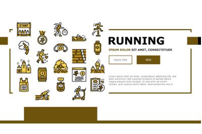 Running Athletic Sport Landing Web Page Header Banner Template Vector