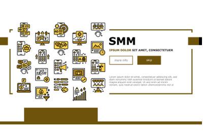 Smm Media Marketing Landing Web Page Header Banner Template Vector