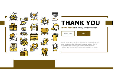 Thank You Day Holiday Landing Web Page Header Banner Template Vector