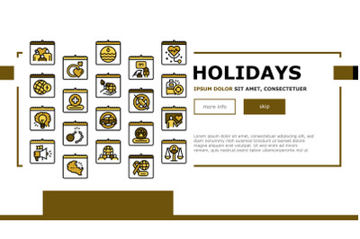 World Holidays Event Landing Web Page Header Banner Template Vector