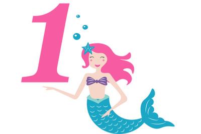 Mermaid  svg , Birthday Mermaid SVG ,  1 st Birthday svg , Mermaid Gir