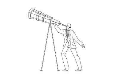 Visionary Businessman Looking Into Spyglass Vector Illustration