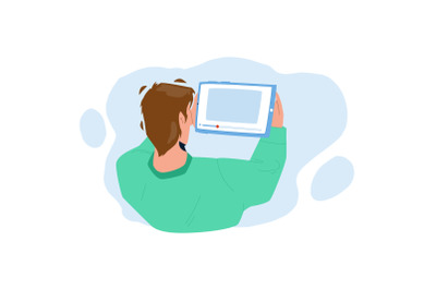 Man Watching Video On Tablet Digital Device Vector