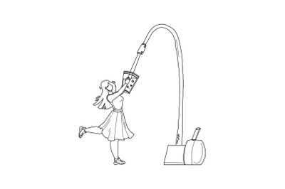 Water Filter Faucet Pouring In Glass Girl Vector