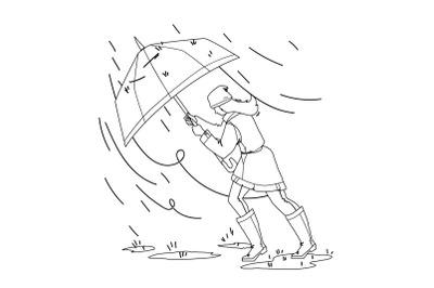 Weather Rain Day Walking Girl With Umbrella Vector