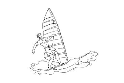 Windsurfing Man Surfer Athlete On Wavy Sea Vector