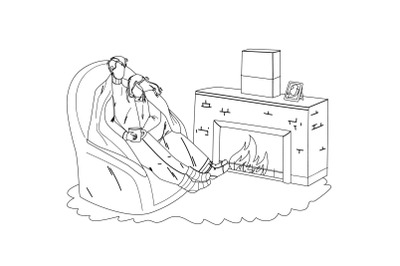 Winter Rest Couple Together Near Fireplace Vector