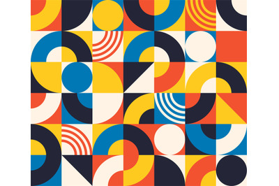 Bauhaus seamless pattern. Abstract square tiles with circle and triang