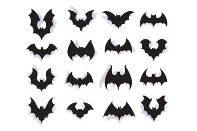 Paper bats. Halloween symbol of creepy flying animal with wings. 3d va