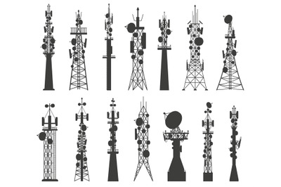 Radio tower silhouette. Satellite communication antenna. Telecom netwo